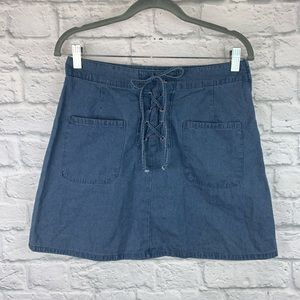 MM by Michelle Lace Up Detail Denim Mini Skirt 9